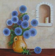 Echinops & Yellow Jug - SOLD
